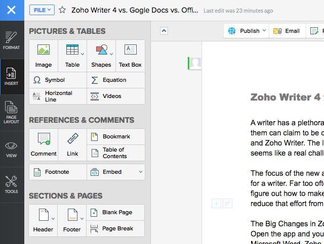 Zoho-escritor-barra lateral-imágenes de izquierda y mesas