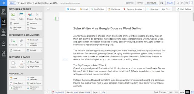 Zoho-escritor de izquierda de la barra lateral-fotos-y-mesas-pantalla completa